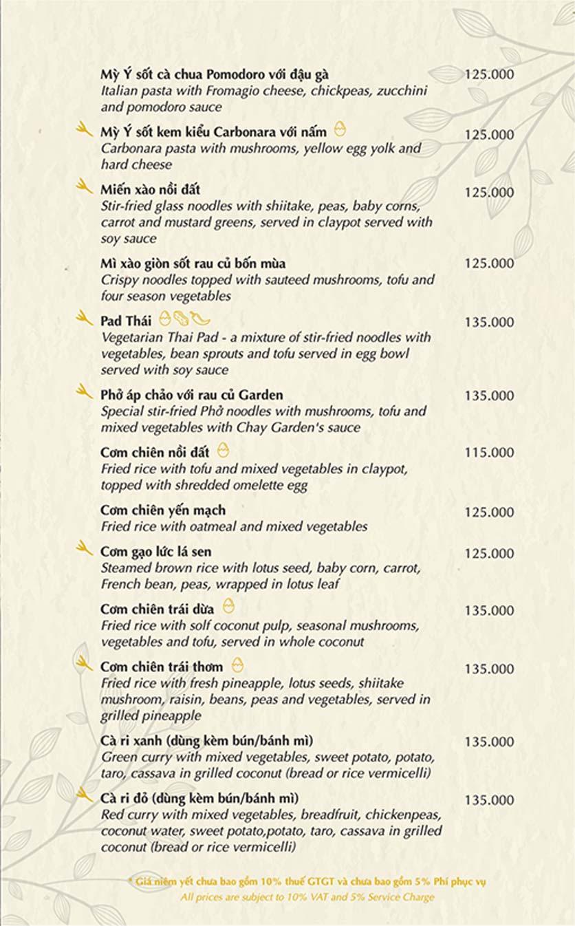 Menu Chay Garden Vegetarian Restaurant & Coffee – Võ Văn Tần 6