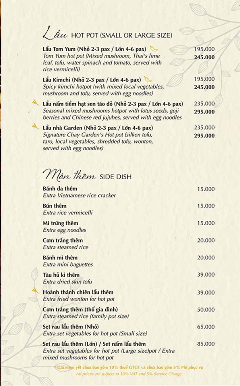 Menu Chay Garden Vegetarian Restaurant & Coffee – Võ Văn Tần 7