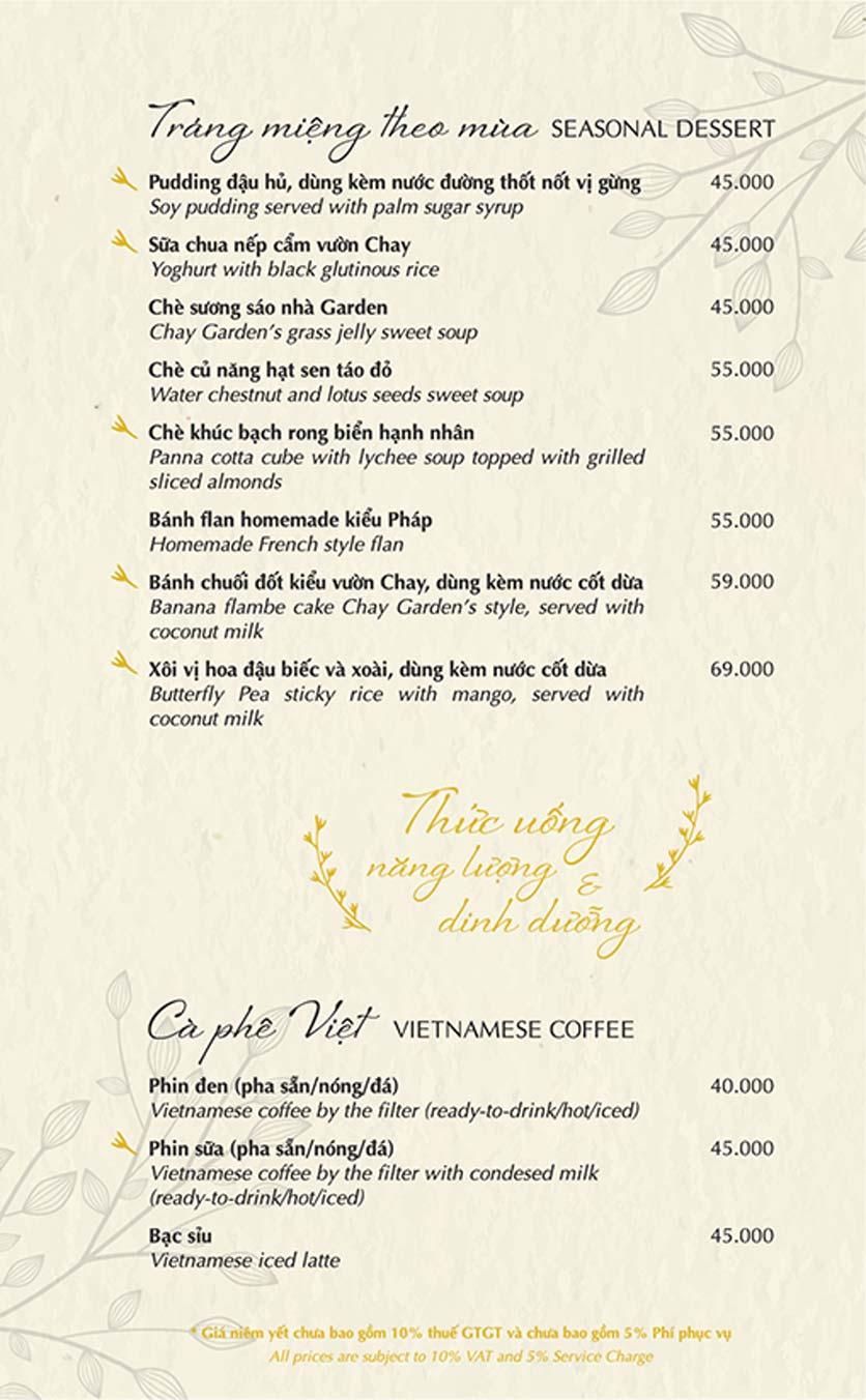Menu Chay Garden Vegetarian Restaurant & Coffee – Võ Văn Tần 8