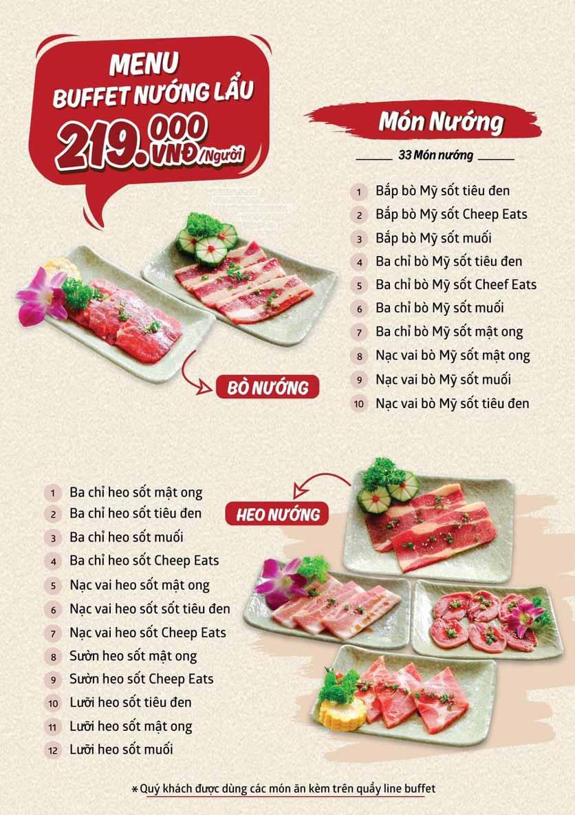 Menu Cheep Eats - Buffet nướng - lẩu - hải sản - Trần Phú 1
