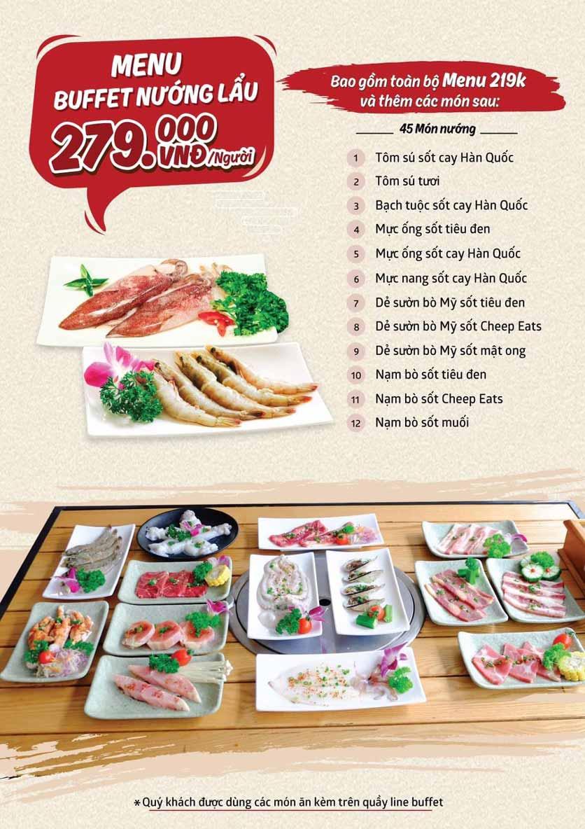Menu Cheep Eats - Buffet nướng - lẩu - hải sản - Trần Phú 3