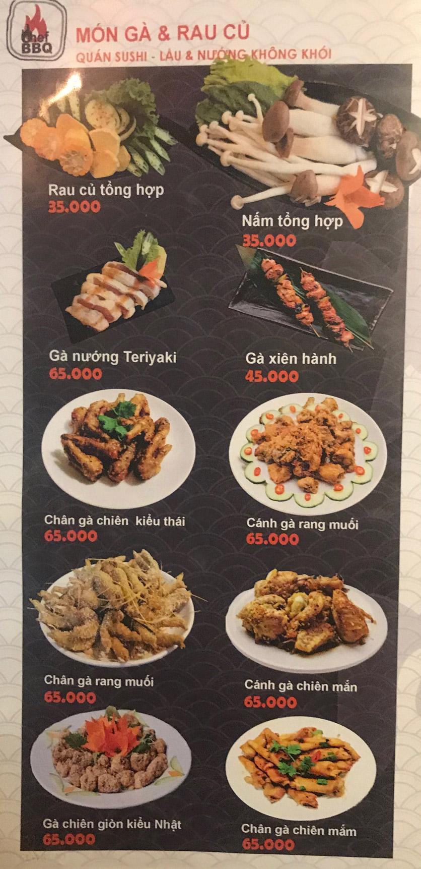 Menu Chef BBQ - Nghĩa Tân 21