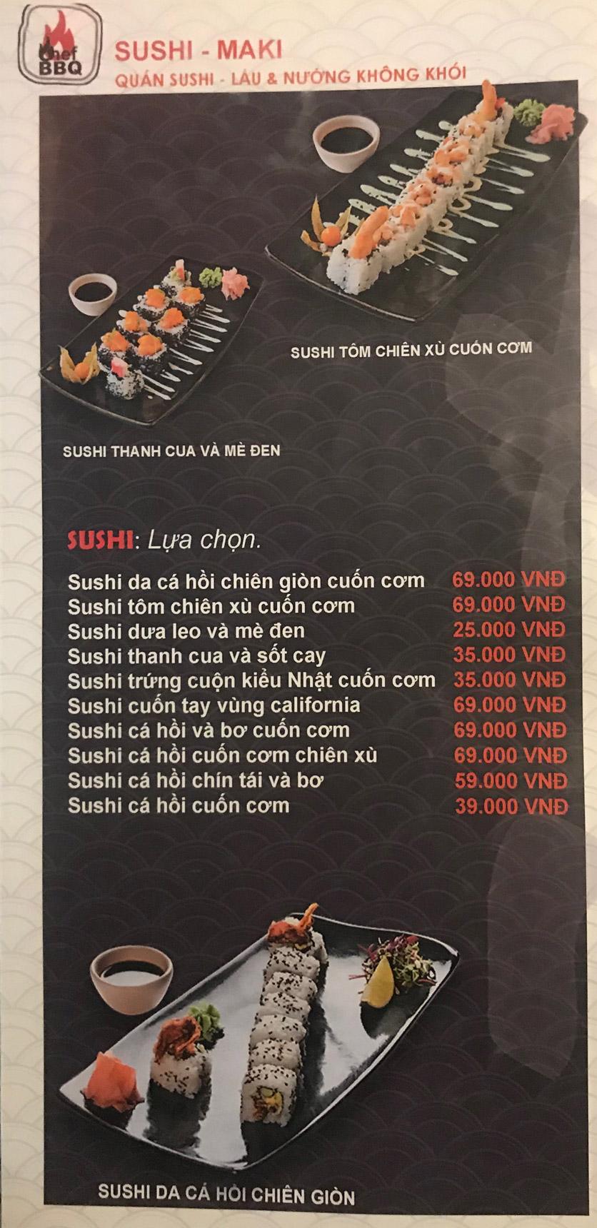 Menu Chef BBQ - Nghĩa Tân 24