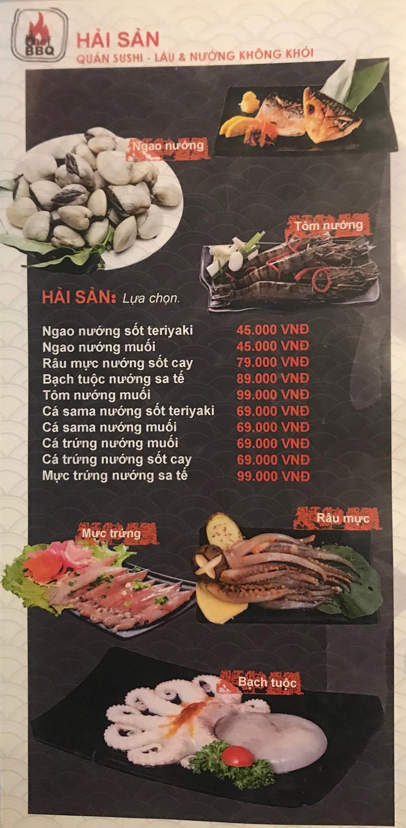 Menu Chef BBQ - Nghĩa Tân 28