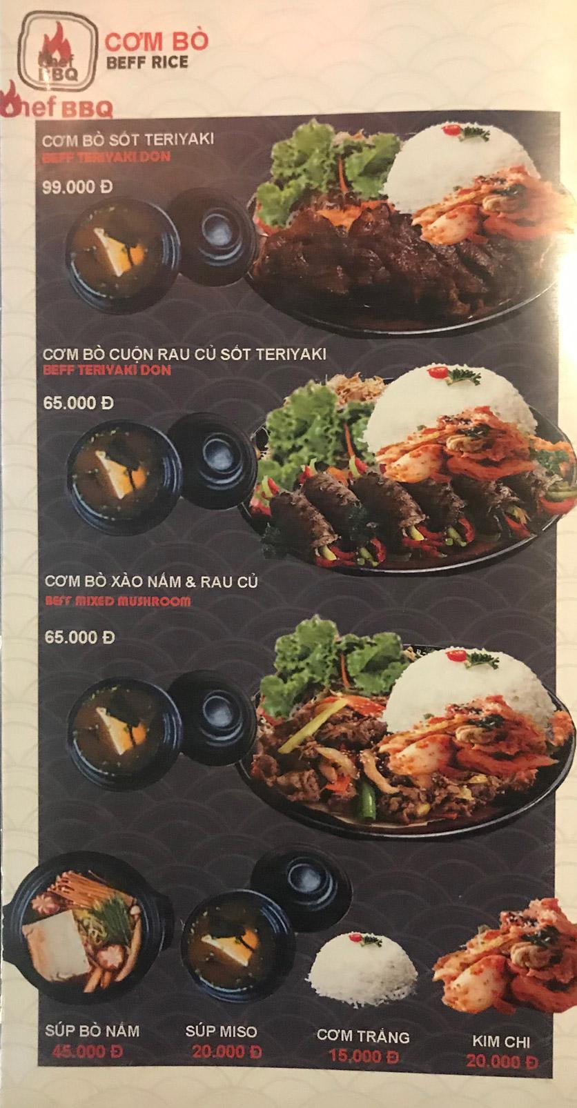Menu Chef BBQ - Nghĩa Tân 38