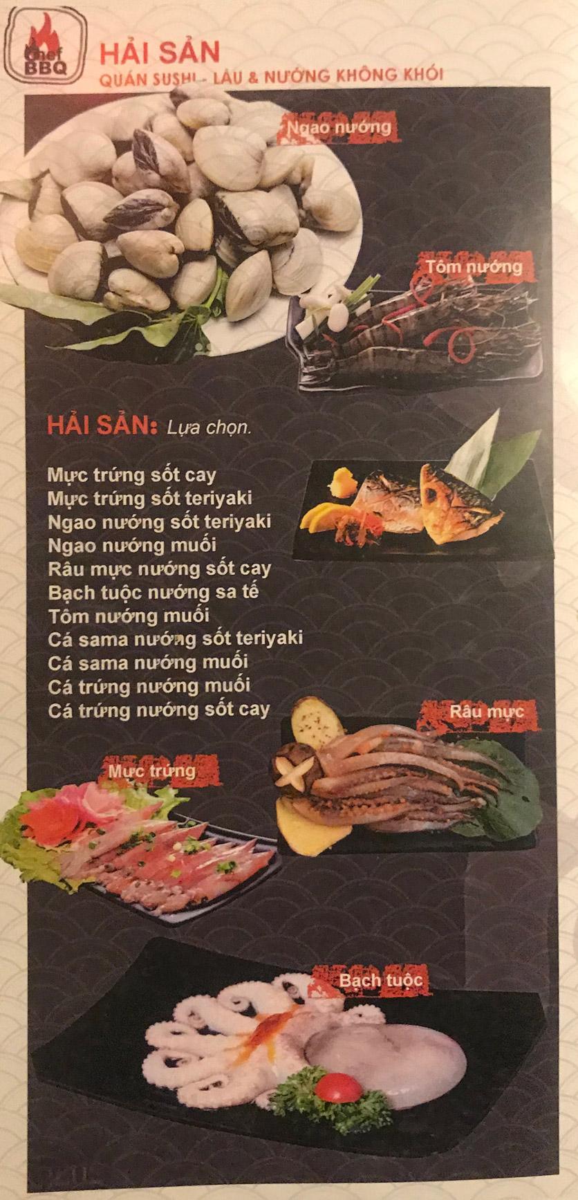 Menu Chef BBQ - Nghĩa Tân 7