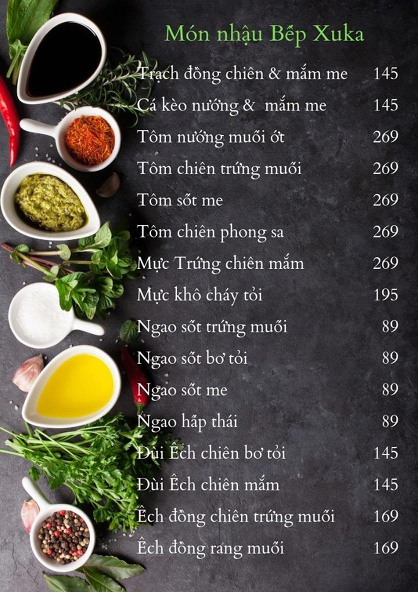 Menu Bếp Xuka - Nhà Chung 5
