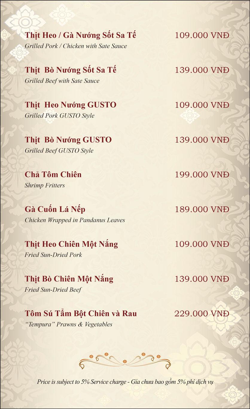 Menu Gusto Thai - Nguyễn Chí Thanh 3