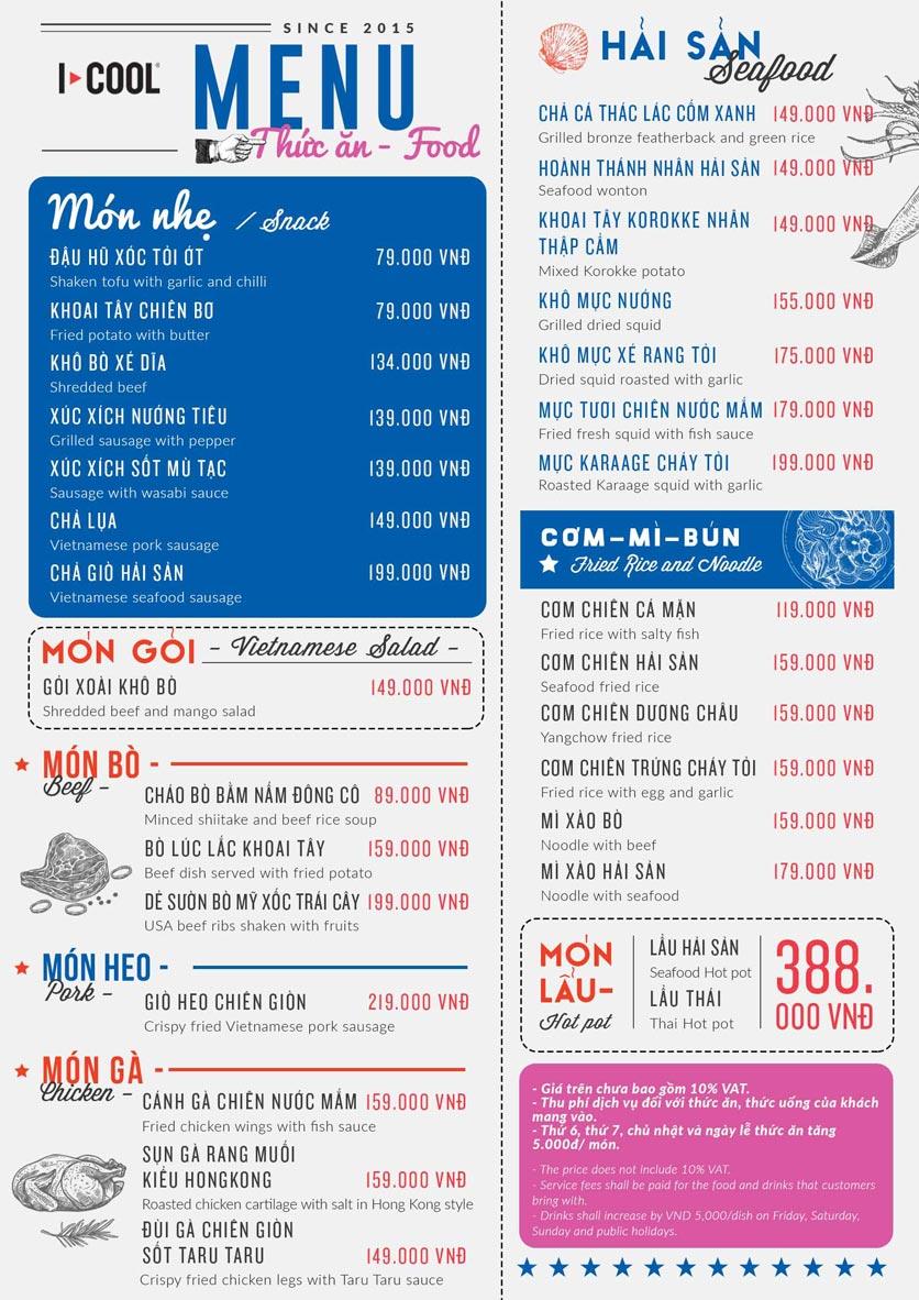 Menu Karaoke ICOOL - Thành Thái  2