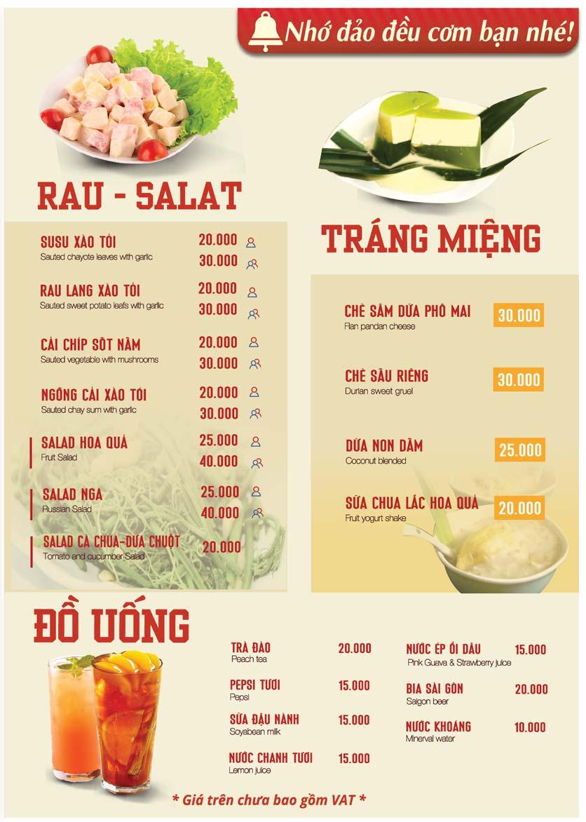 Menu Kombo - Cơm niêu Singapore -Trần Đại Nghĩa 2