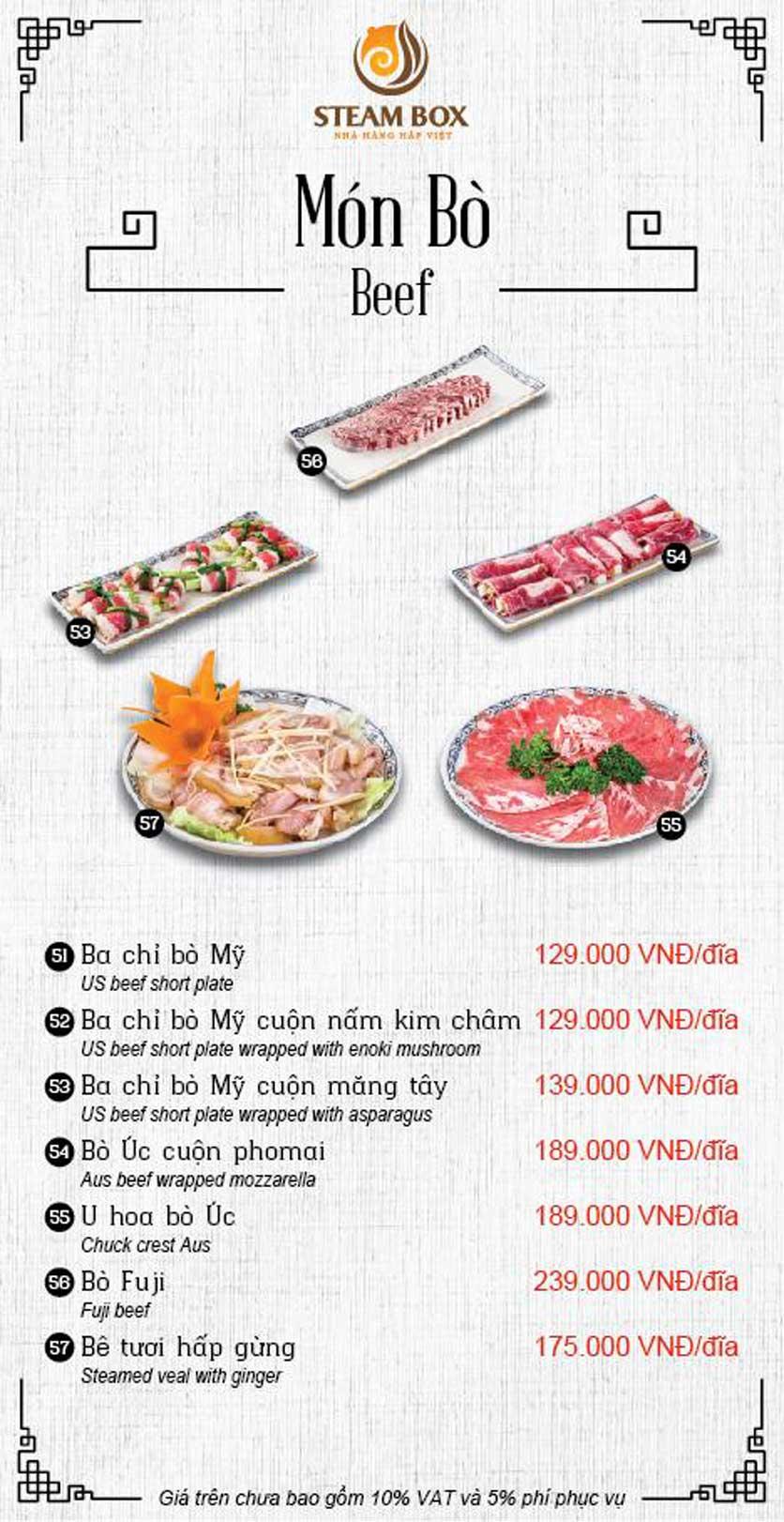 Menu Steam Box  - Nguyễn Thị Định 11