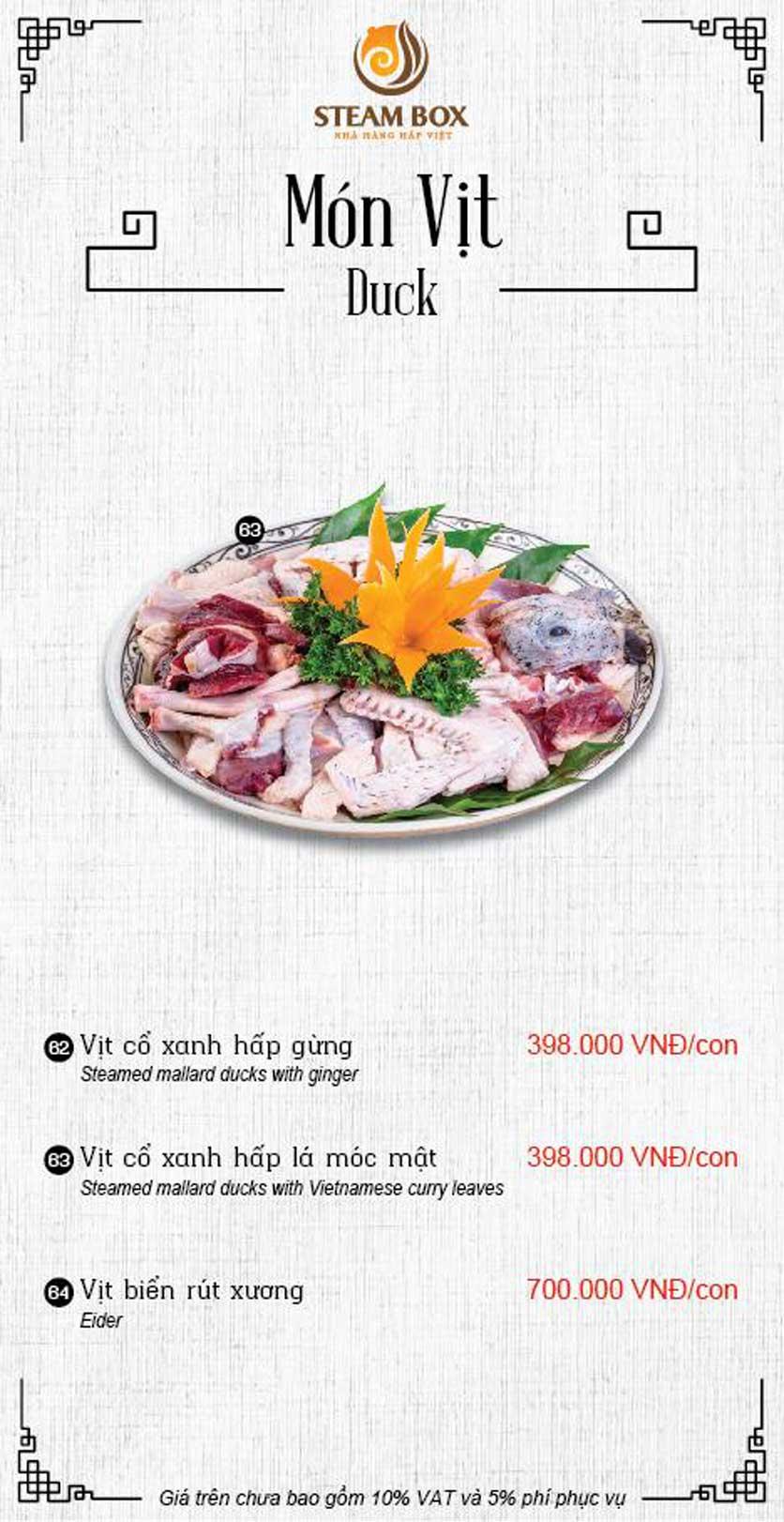 Menu Steam Box  - Nguyễn Thị Định 13