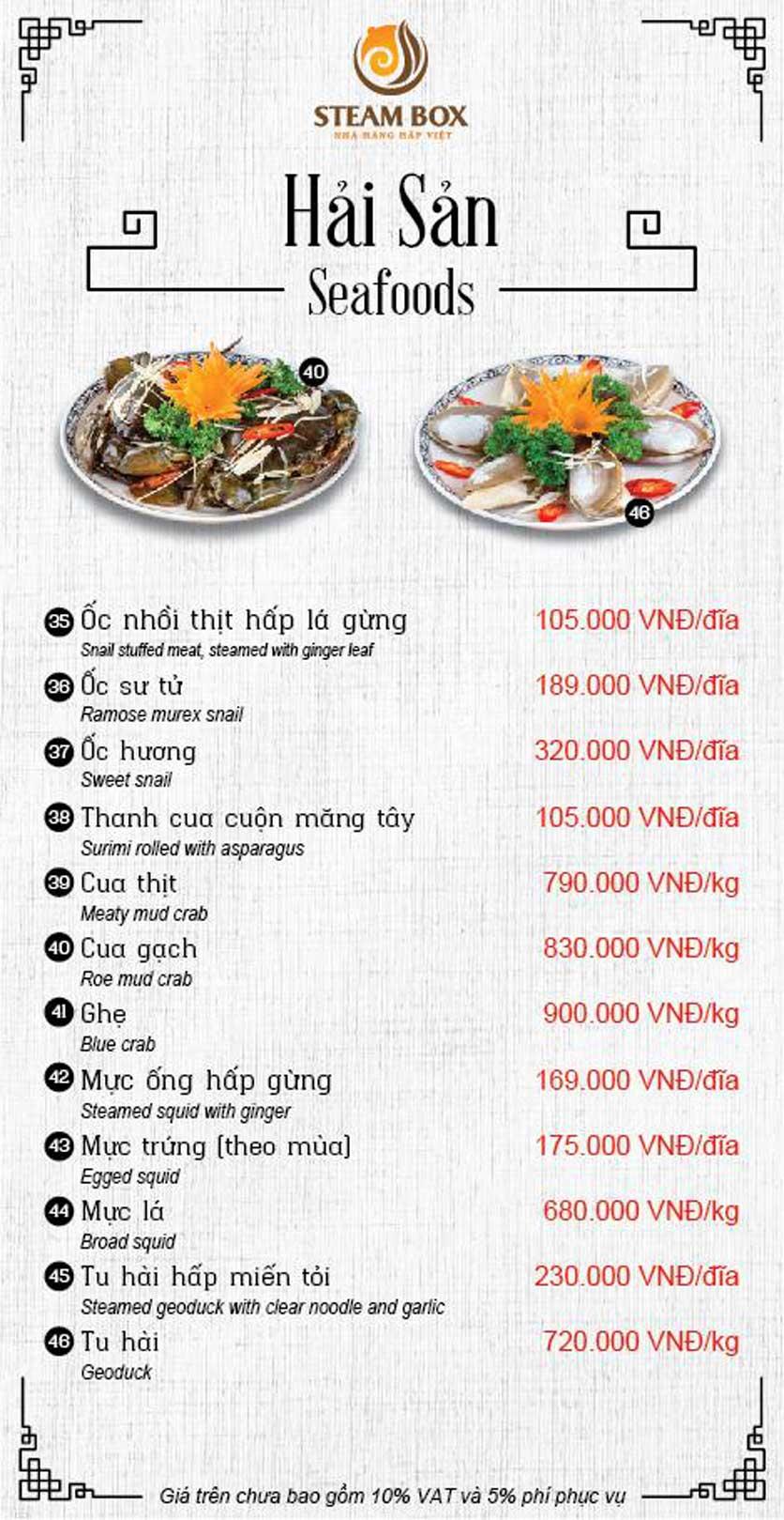 Menu Steam Box  - Nguyễn Thị Định 9