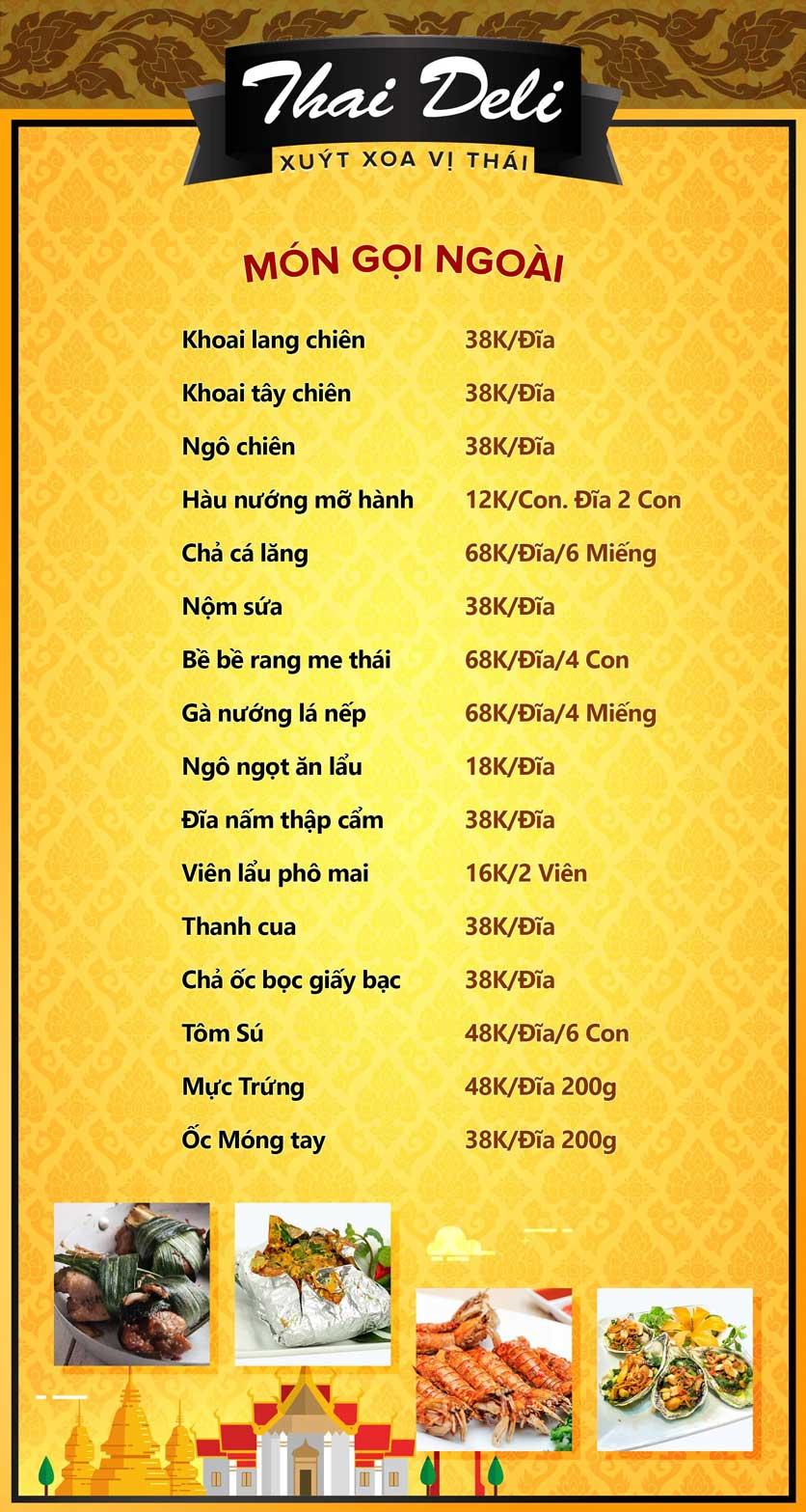 Menu Thai Deli - Buffet Lẩu Thái Hải Sản - Vũ Ngọc Phan 2