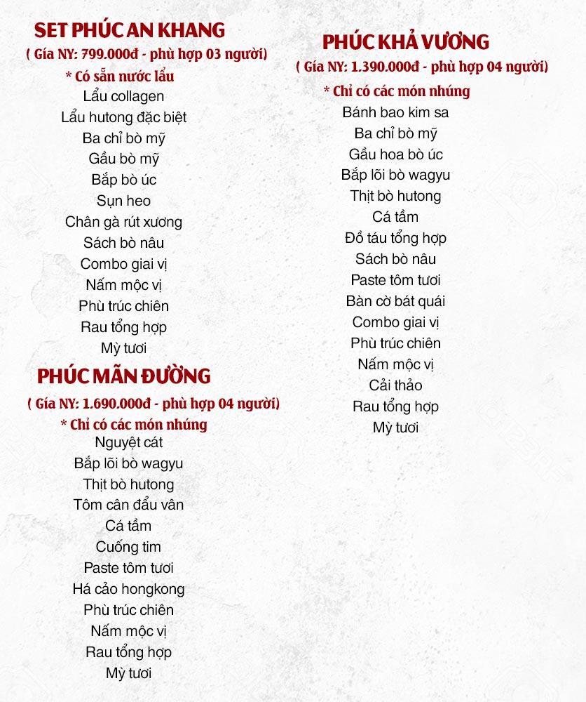 Menu Hutong – Triệu Việt Vương 1