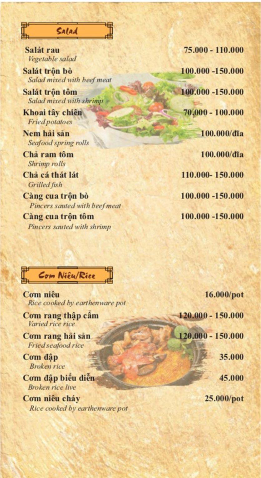 Menu Cơm Niêu 3 Cá Bống – Nguyễn Tri Phương 11
