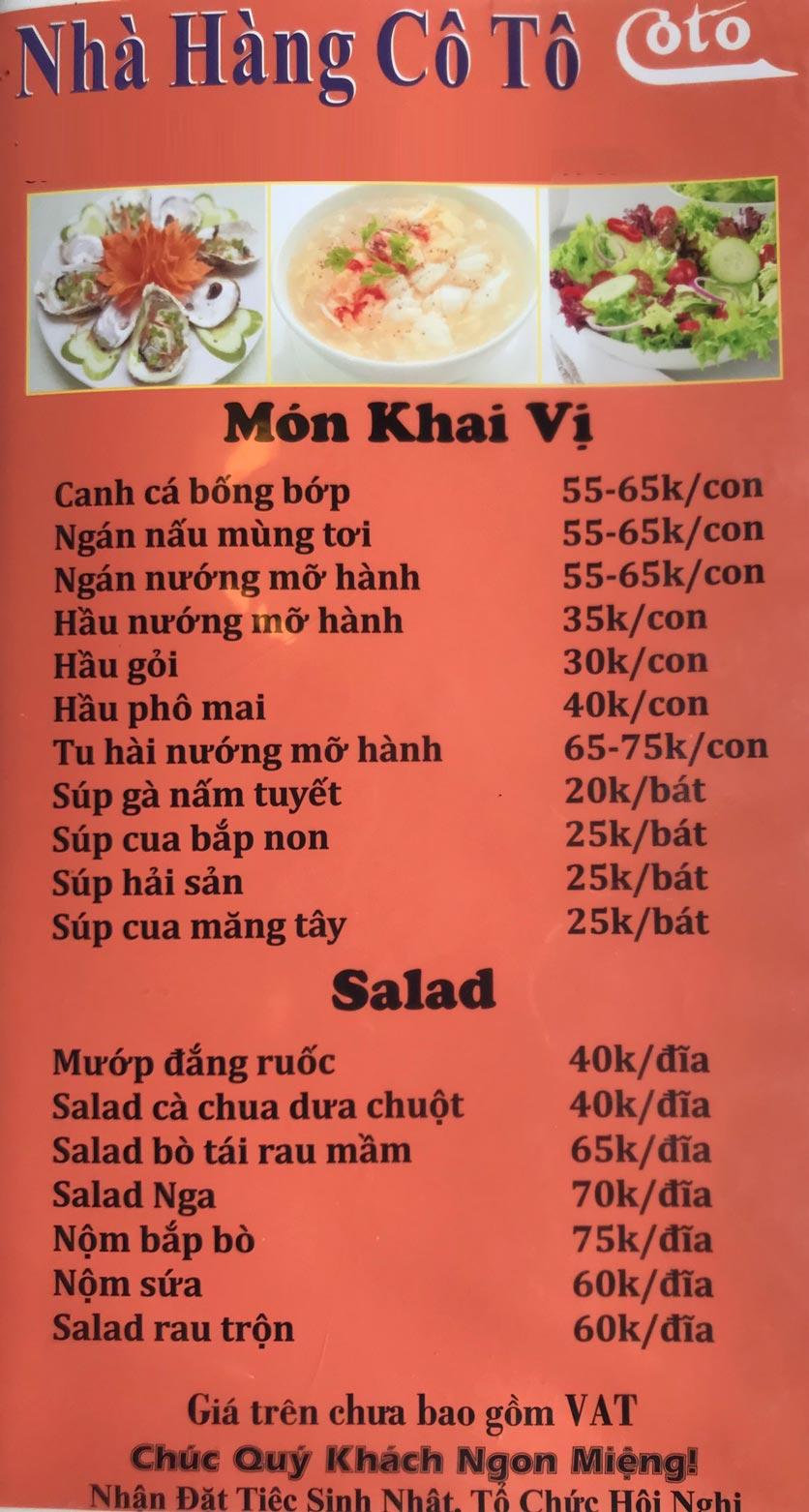 Menu Cô Tô - Nguyễn Khang 1