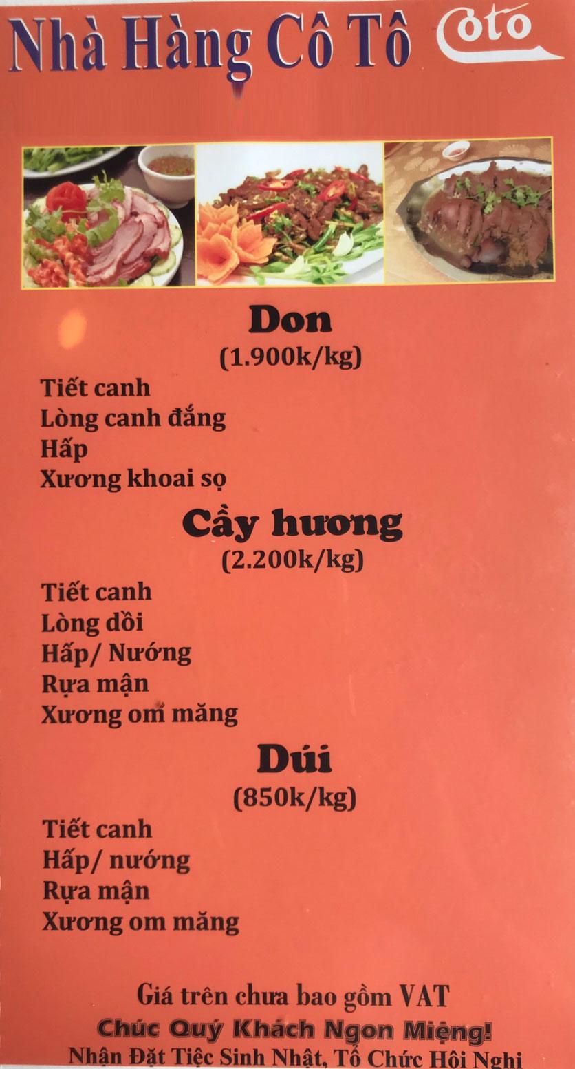 Menu Cô Tô - Nguyễn Khang 11