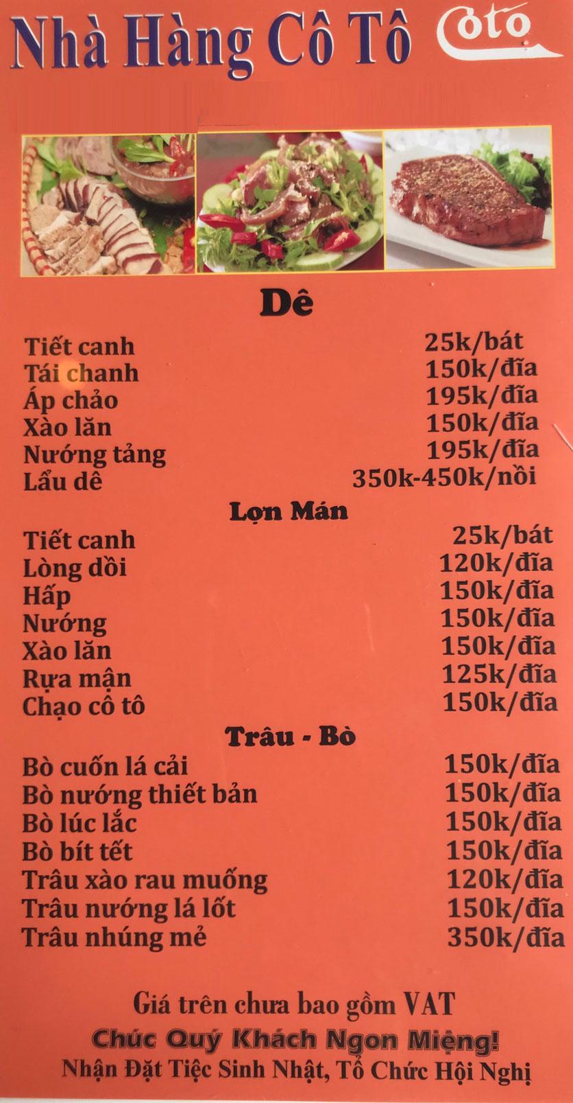Menu Cô Tô - Nguyễn Khang 13