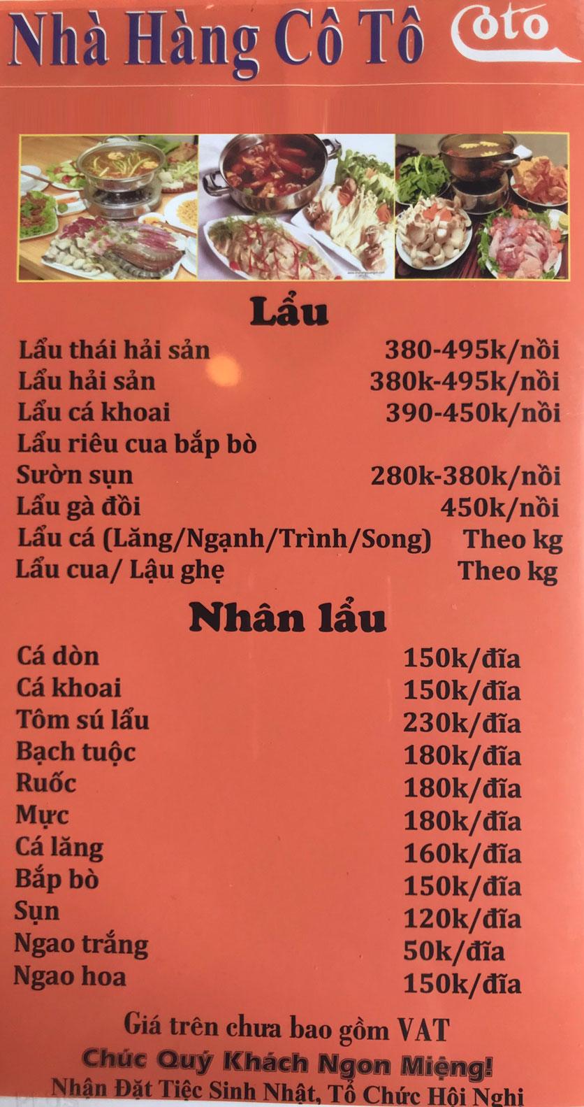 Menu Cô Tô - Nguyễn Khang 14