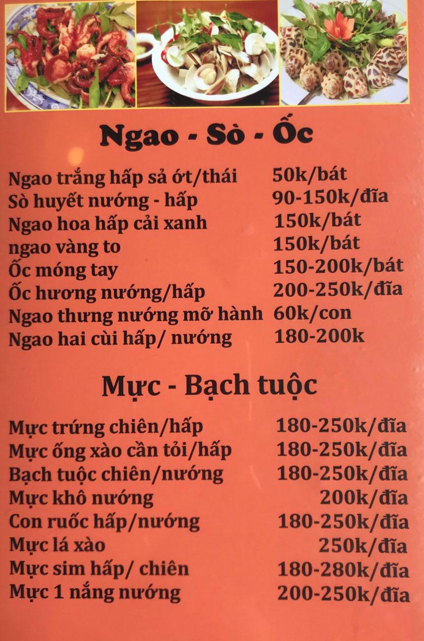 Menu Cô Tô - Nguyễn Khang 5