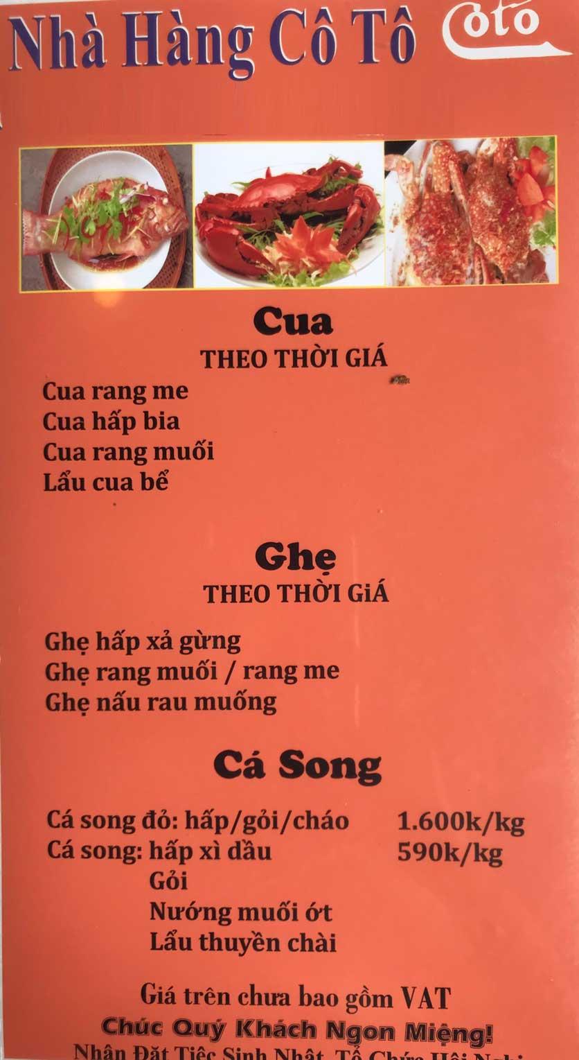 Menu Cô Tô - Nguyễn Khang 7