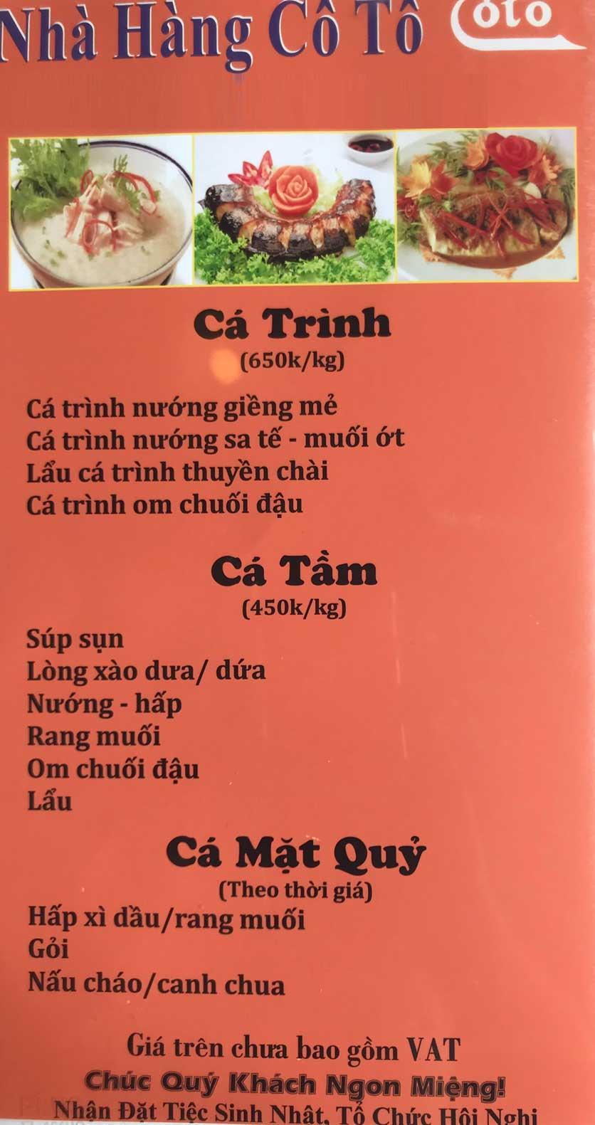 Menu Cô Tô - Nguyễn Khang 8
