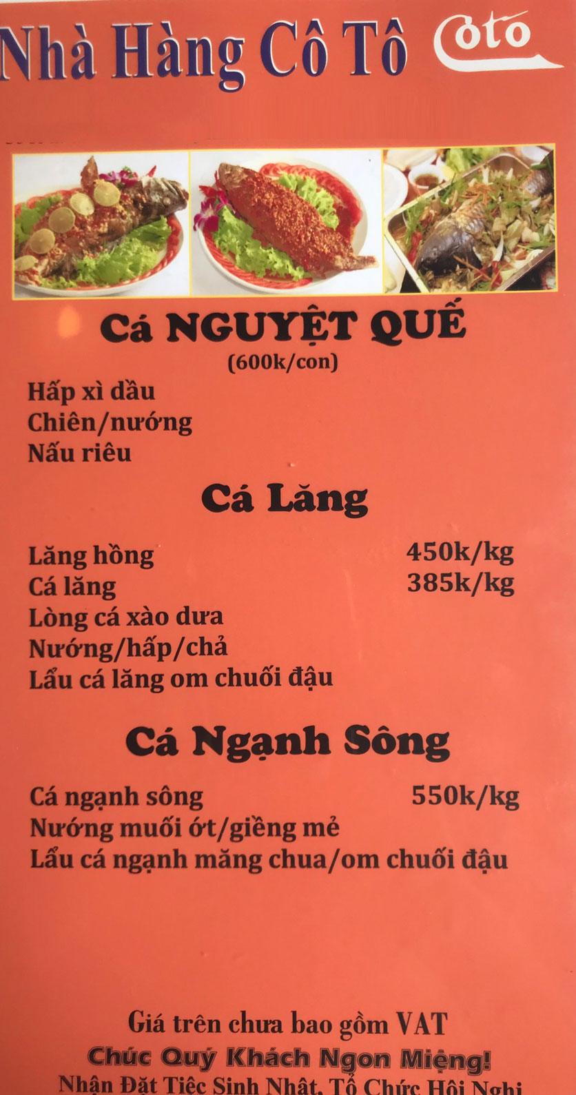 Menu Cô Tô - Nguyễn Khang 9