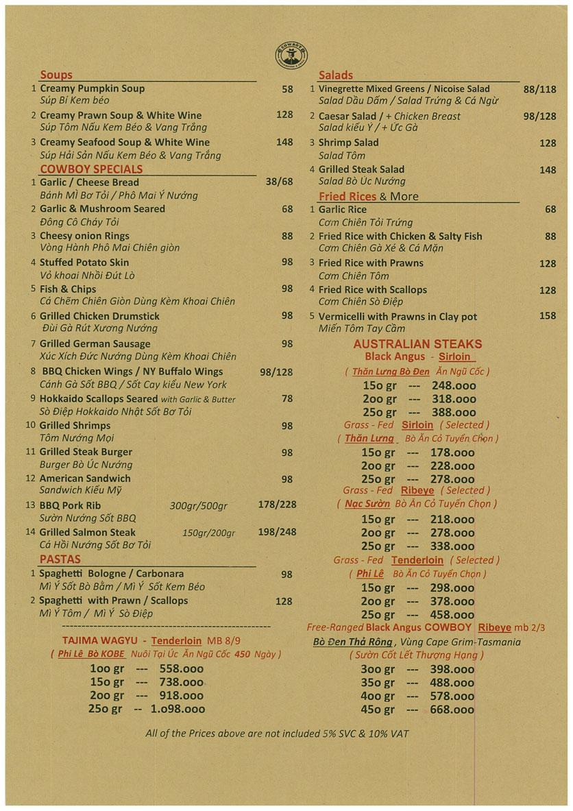 Menu Cowboy Steakhouse & Grill – Đồng Nai  1