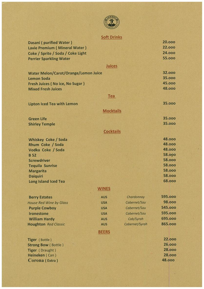 Menu Cowboy Steakhouse & Grill – Đồng Nai  2