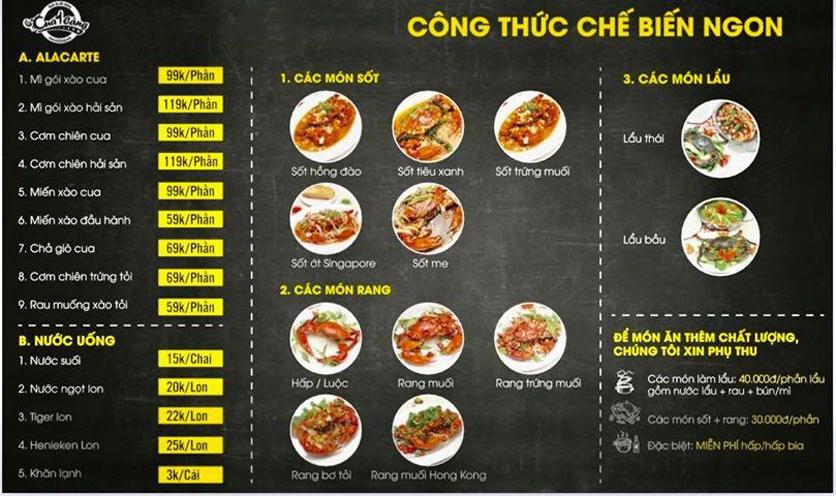 Menu Cua 1 Càng – Đồng Nai 1