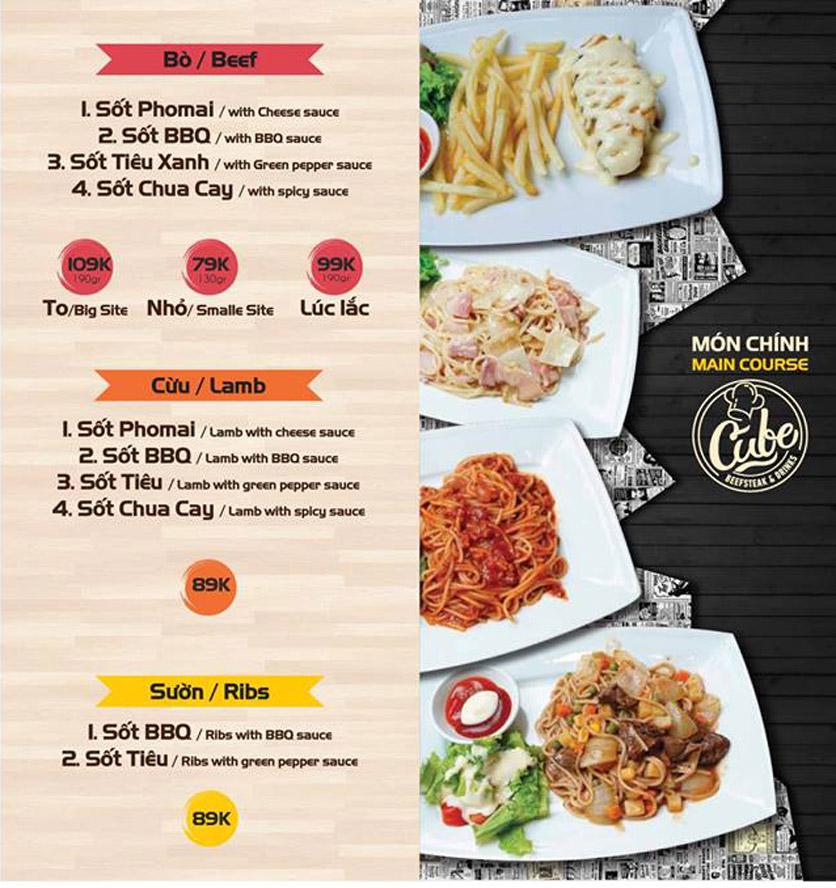 Menu Cube Beefsteak & Drinks - Xã Đàn 1