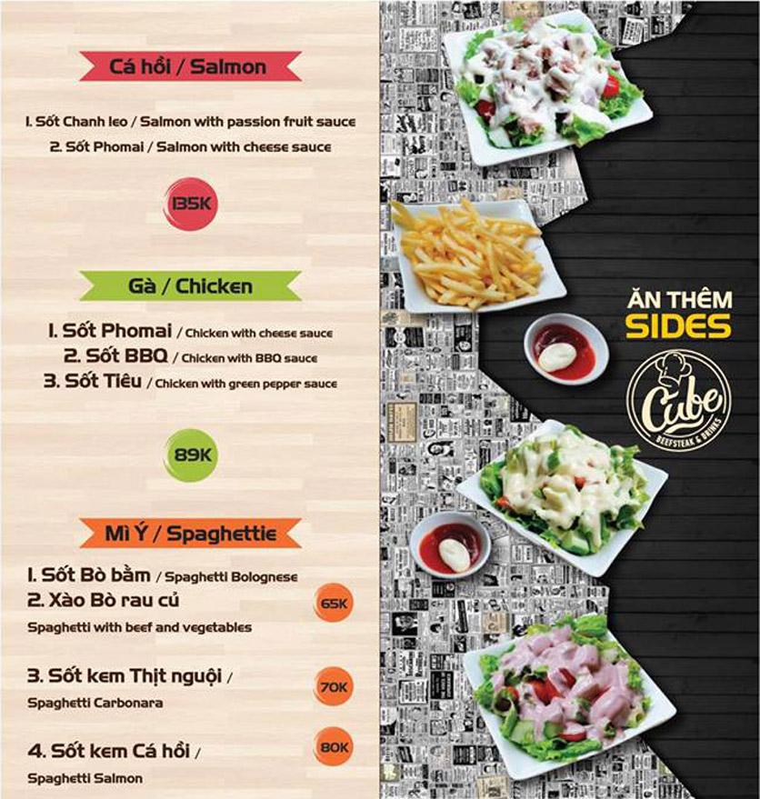 Menu Cube Beefsteak & Drinks - Xã Đàn 2