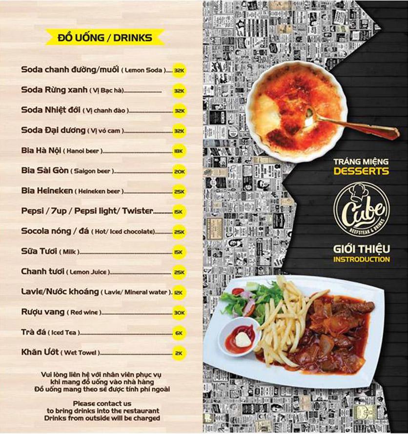 Menu Cube Beefsteak & Drinks - Xã Đàn 3