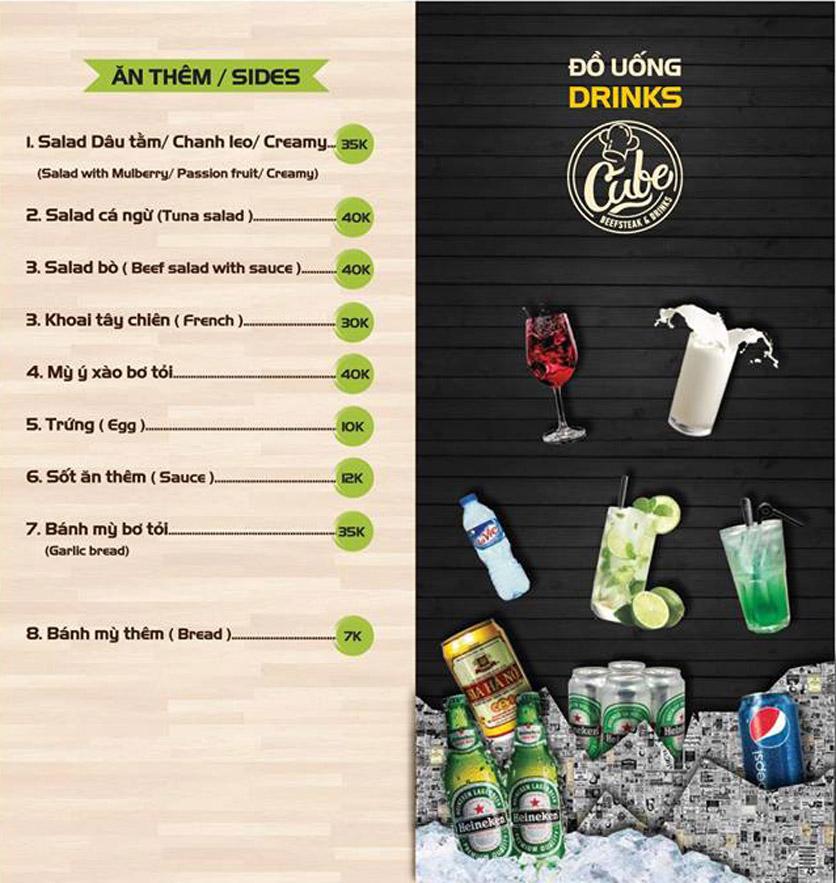 Menu Cube Beefsteak & Drinks - Xã Đàn 4