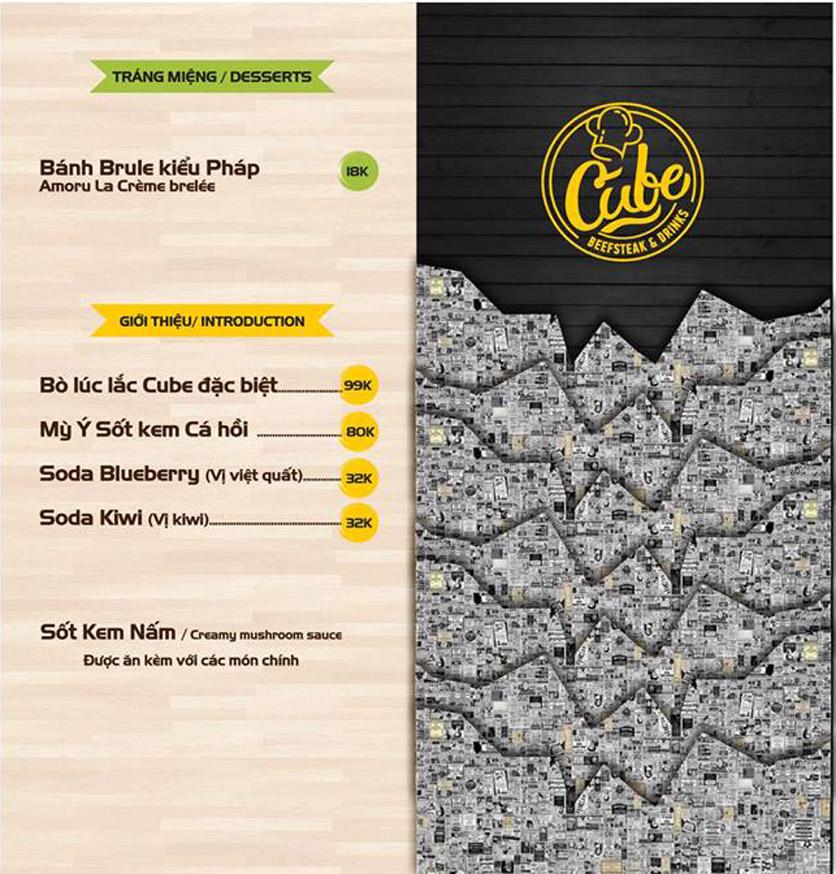 Menu Cube Beefsteak & Drinks - Xã Đàn 5