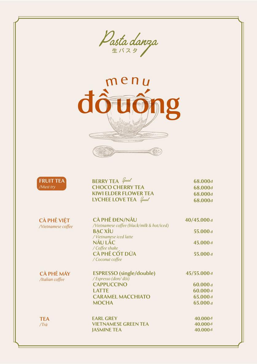 Menu Pasta Danza - Phan Chu Trinh 2