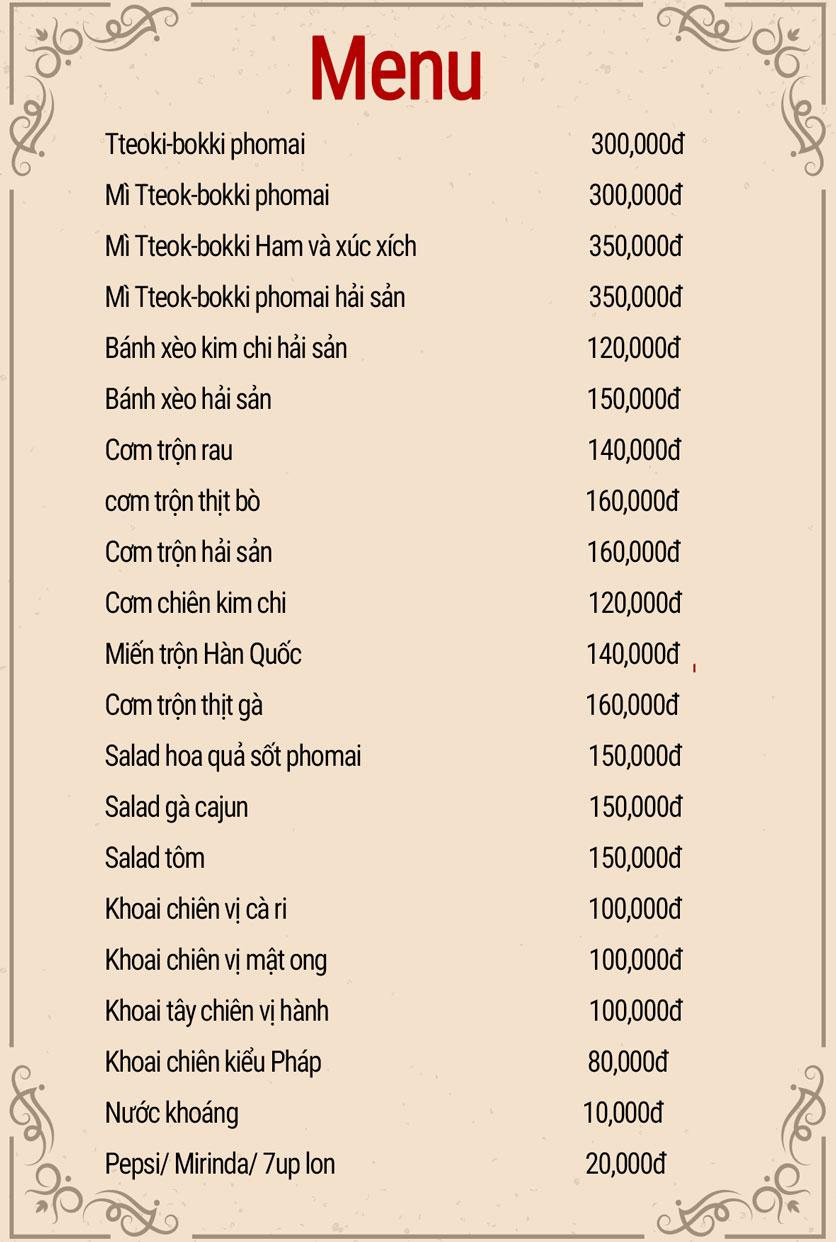 Menu Don Chicken - Vũ Phạm Hàm 2