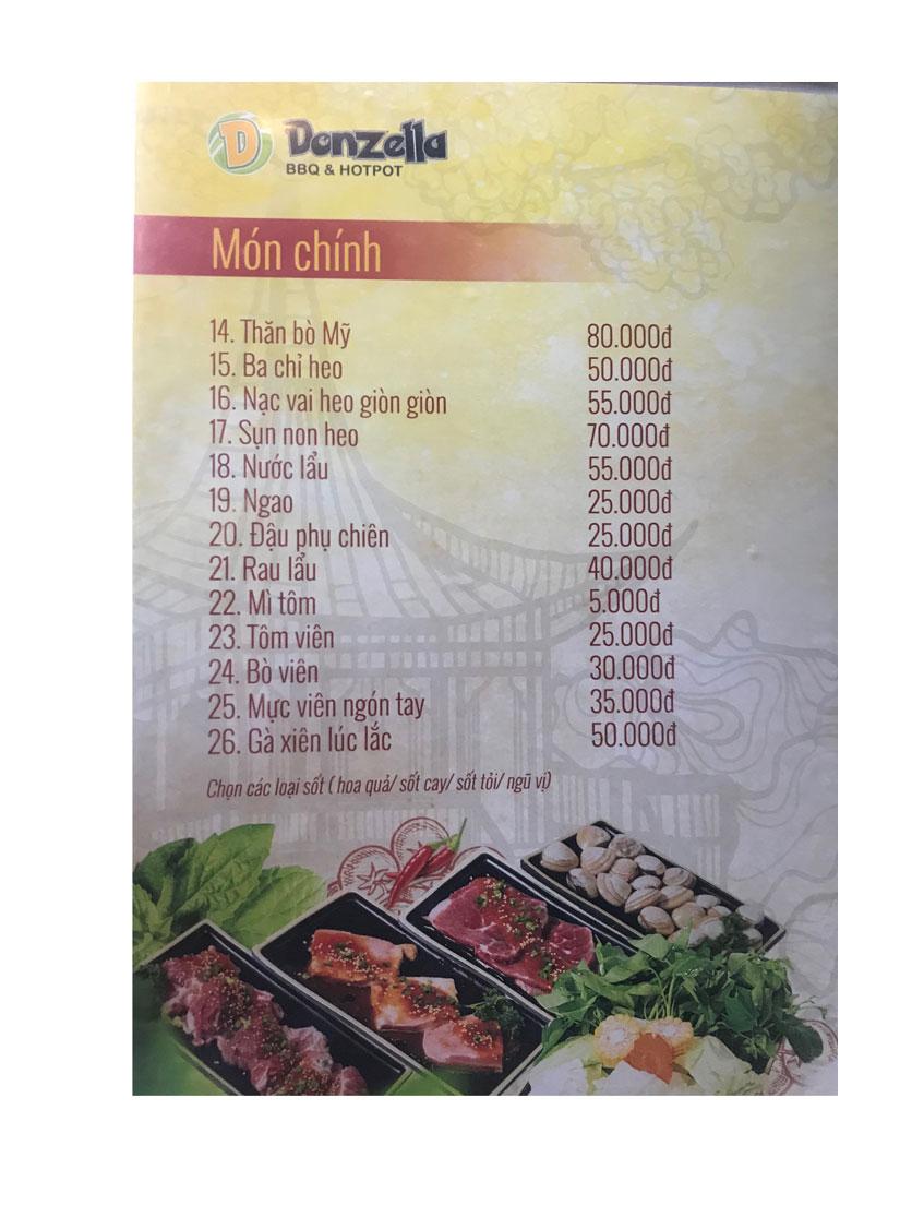 Menu Donzella BBQ & Hotpot - Đội Cấn 10
