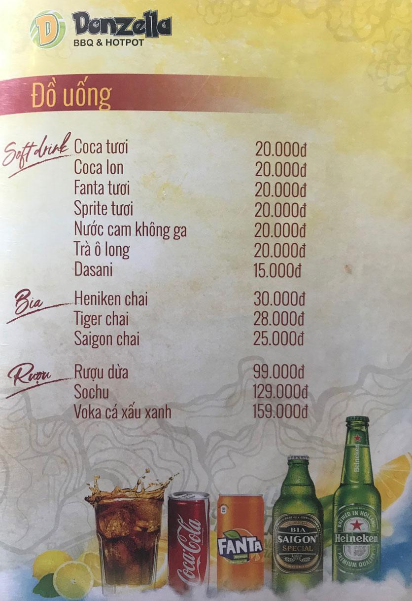 Menu Donzella BBQ & Hotpot - Kim Mã 13