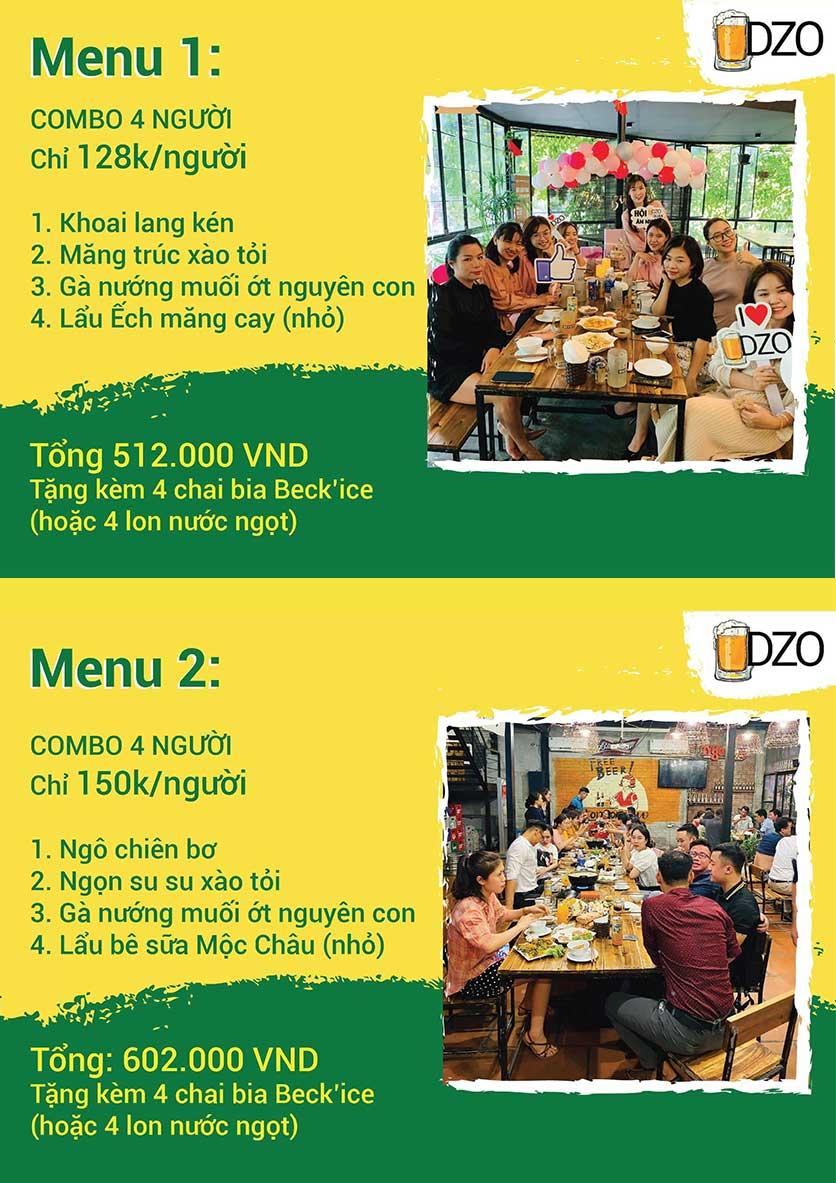 Menu DZO Quán -  1/84 Trần Thái Tông 1