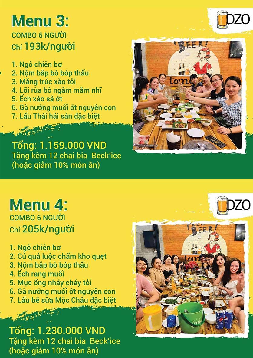 Menu DZO Quán -  1/84 Trần Thái Tông 2