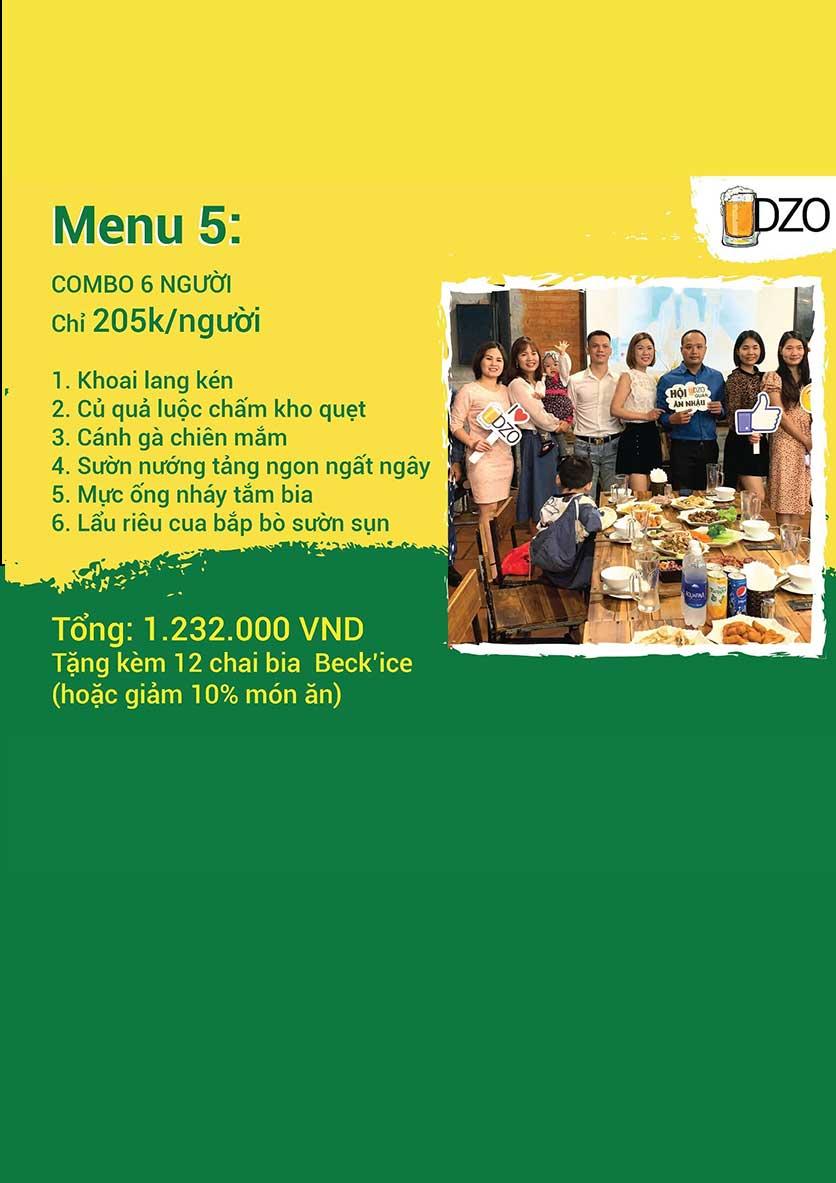 Menu DZO Quán -  1/84 Trần Thái Tông 3