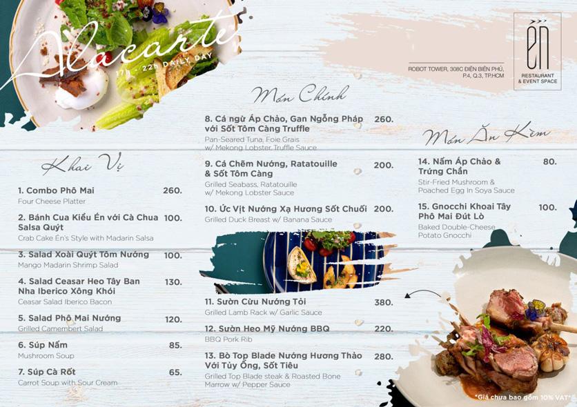 Menu Én Restaurant - Điện Biên Phủ  1
