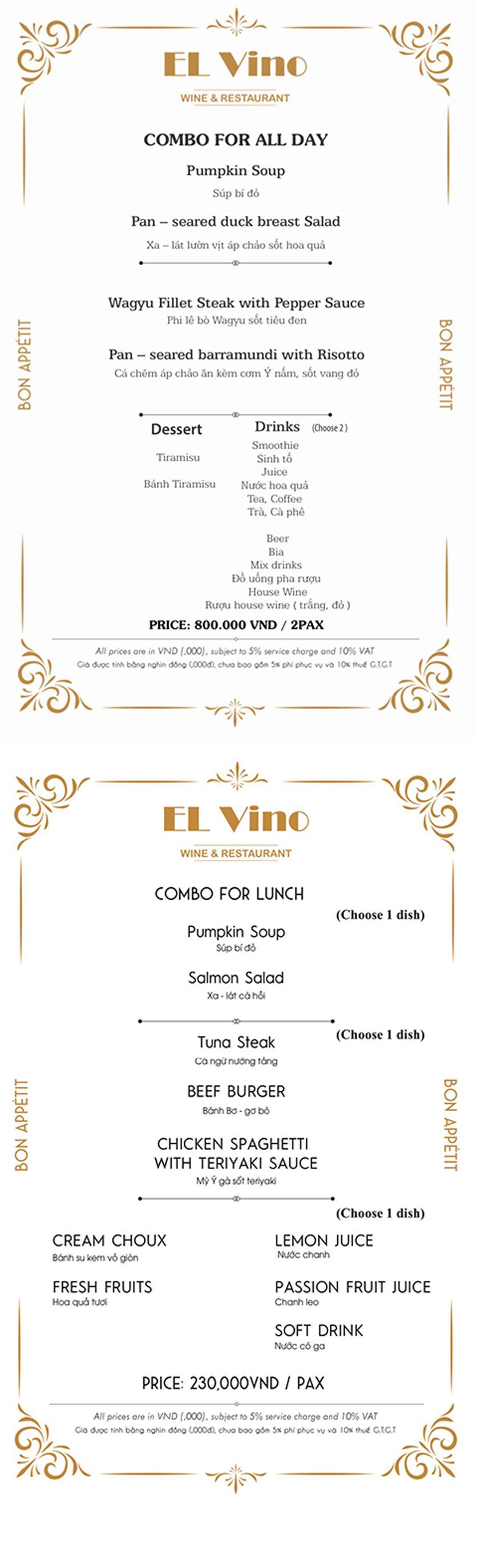 Menu El Vino Wine & Restaurant - Quảng An 2