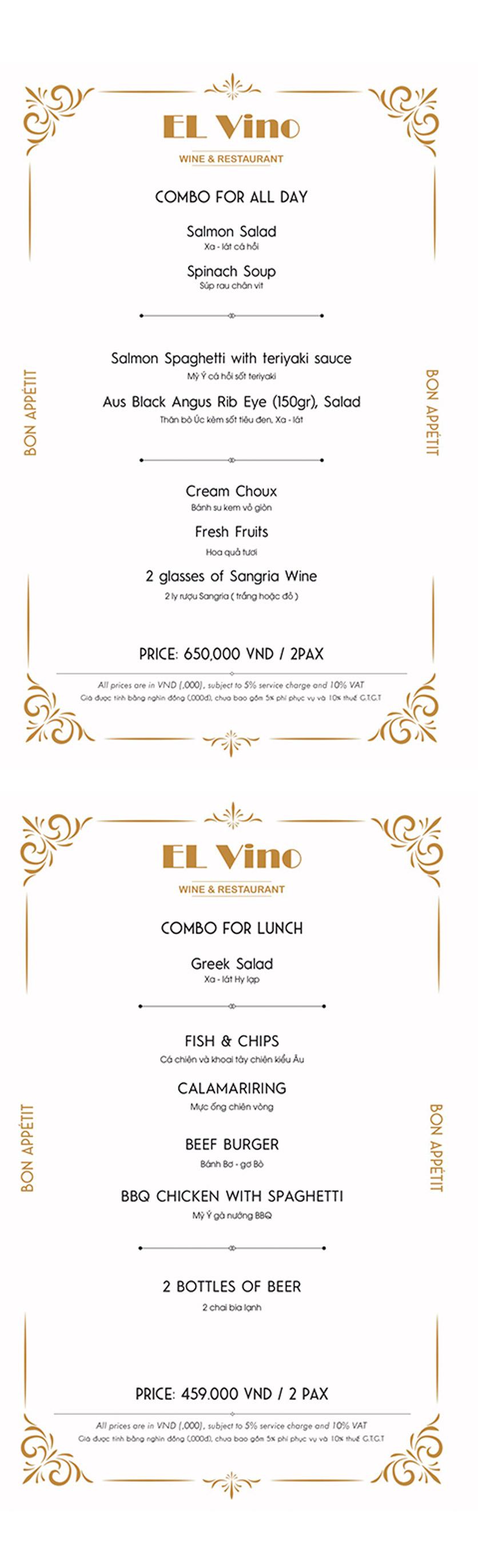 Menu El Vino Wine & Restaurant - Quảng An 1