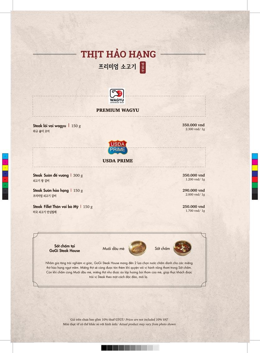 Menu GoGi Steak House - Lê Văn Lương 2