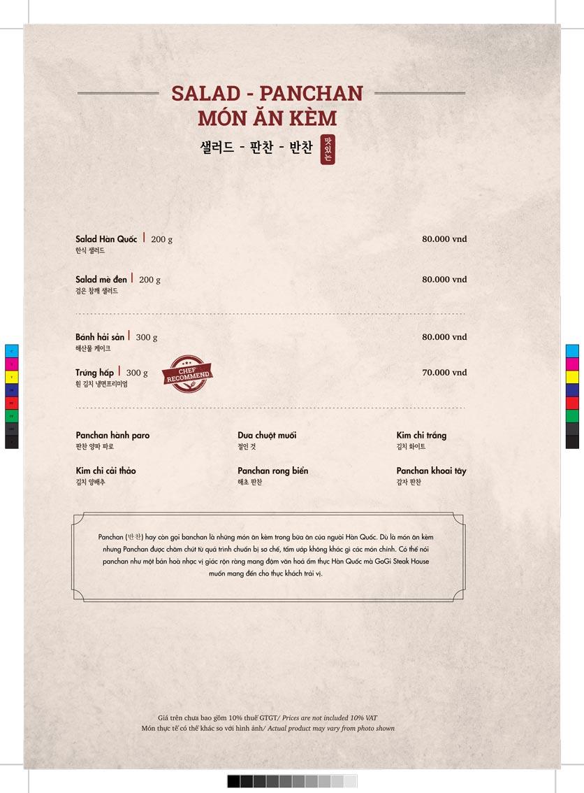 Menu GoGi Steak House - Lê Văn Lương 10