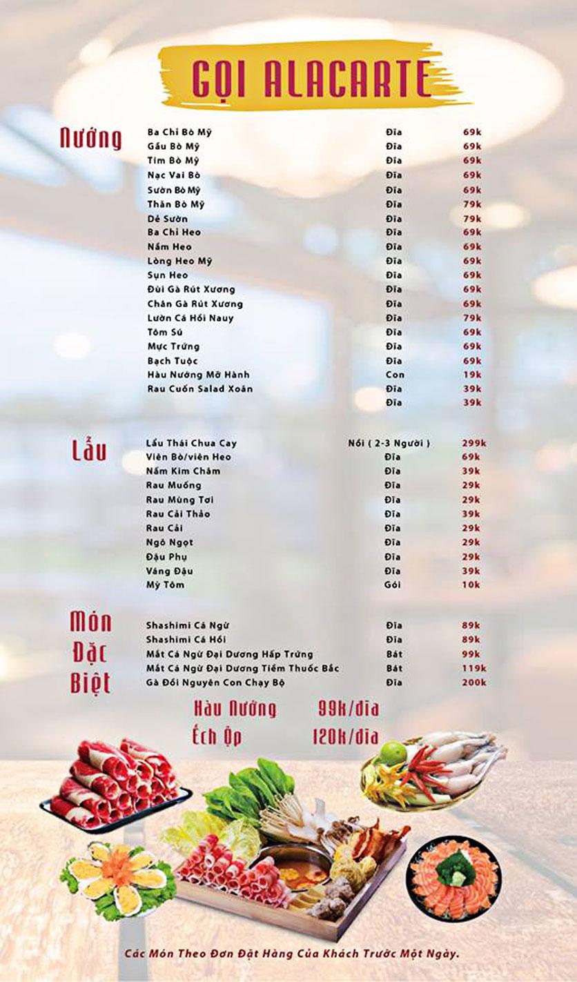 Menu GOPchain – Quán thịt nướng & lẩu Hàn Quốc – Đường 19/5 6