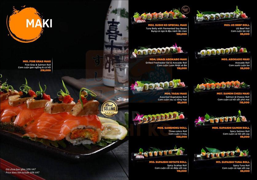 Menu Grand Sushi KO - Xuân Thủy 10